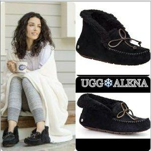 🆕UGG Waterproof Bow Black Sheepskin Slippers